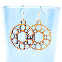 Hexagon with Circles Earrings