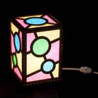 Blue Dot Electric Lamp 5x5x7 switched on