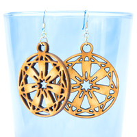 Seven Petal Geometric Flower Earrings