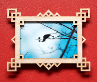 Geometric Squares laser cut wood picture frame for 4x6 inch photo