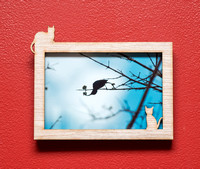 Cats laser cut wood picture frame for 4x6 inch photo