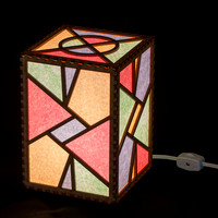 Triangles Electric Lamp 5x5x7 switched on