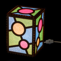 Pink Dot Electric Lamp 5x5x7 switched on